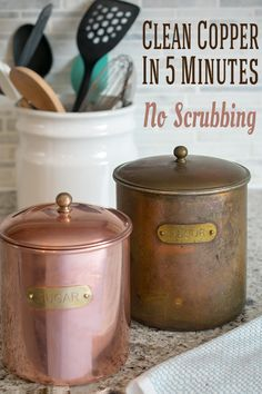 The best way to clean copper and remove tarnish! I was hesitant to bring out my grandmother's heavily tarnished copper canisters for cleaning until I learned these genius tricks.