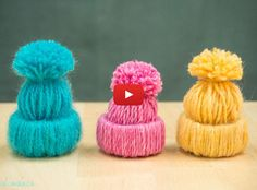 Create Adorable Little Yarn Hat Ornaments | Check out the easy tutorial here--->  http://gwyl.io/create-adorable-little-yarn-hat-ornaments/