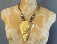 1970s 80s Oversize Brass Sculptural Pendant Beads Statement Necklace Brutalist Style Runway Couture Metal Studio Art Avant Garde Modernist by thedepo on Etsy