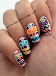 Dia De Los Muertos nails by janice.christensen-dean