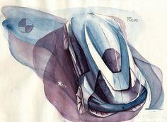Watercolor car sketch