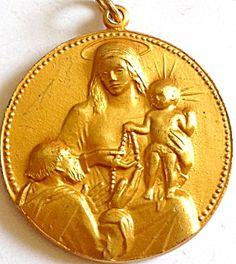 Vintage Gilt Our Lady of the Rosary St. Dominic Religious Medal (Image1)