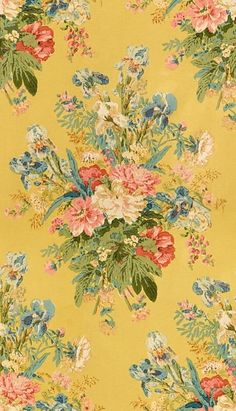 Favorite fall chintz fabric, used at Parish-Hadley Floral Upholstery Fabric, Chintz Fabric, Vintage Floral Fabric, Vintage Fabrics, French Fabric, Shabby, Fabric Wallpaper, Pattern Wallpaper, Mellow Yellow