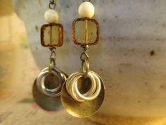Boho Earrings, Brass Earrings, Ivory Earrings, Czech Glass Earrings,  Dangle Earrings, Brass Earrings by MillyLillyDesigns on Etsy