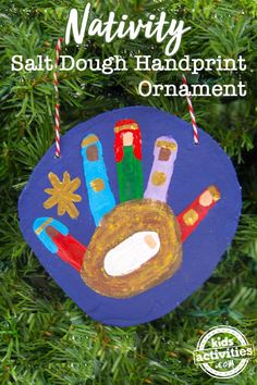 "Help kids learn the ""reason for the season"" with a Nativity Handprint Salt Dough Ornament."