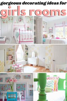 The most GORGEOUS girls room ideas on the internet! Every single one of these popular kids rooms is pin-worthy! from heatherednest.com #girlsroomideas #girlbedroomideas #bedroomideasforgirls #bedroomideasforkids #bedroomideasfordaughters Teenage Girl Bedrooms, Little Girl Rooms, Girls Bedroom, Bedroom Decor, Bedroom Wall, Wall Decor, 50s Bedroom, Bedroom Ideas, Budget Bedroom