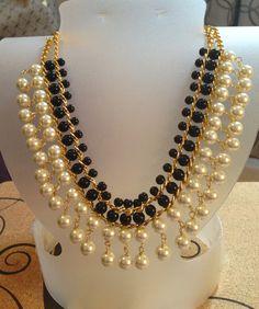 Collar perlas con cristal liso