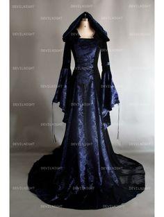 Navy Blue and Black Velvet Gothic Hooded Medieval Dress - Devilnight.co.uk