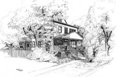 Houses Ink. Pen Drawing, Chicago, Illinois