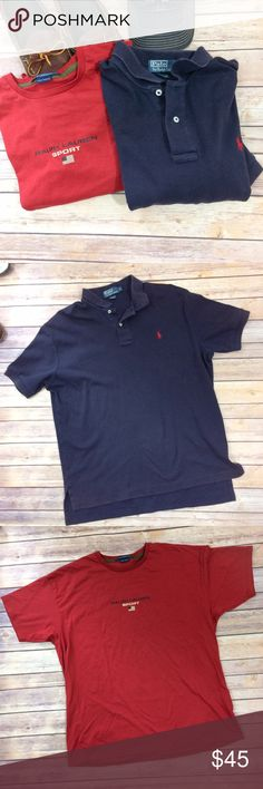 """Two RALPH LAUREN Shirts Polo and T Shirt Two Men's Ralph Lauren Shirts Blue cotton short sleeved polo style 25"""" armpit to armpit  30 1/2"""" long Some slight wash wear but overall in excellent used condition  Dark red T- shirt doesn't have a size tag 23"""" armpit to armpit  27"""" long Excellent condition  Smoke free home Polo by Ralph Lauren Shirts Polos"""