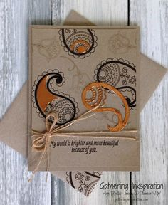 handmade card, thinking of you card, thank you card, handmade thinking of you card, hand stamped, copper accents, paisleys, copper & crumb cake, demonstrator, paper crafting, hobby, easy, quick, rubber, stamps, stamping, craft, stampin up, paper, *Stampin' Up, by Amy Frillici, Gathering Inkspiration, order products online at amysuzanne.stampinup.net