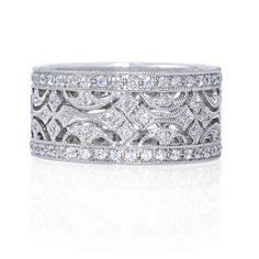 Stunning Beverley K wedding band at Greenwich Jewelers featuring a vintage inspired design with pave diamonds