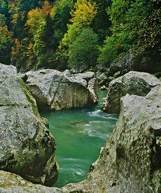 Rocky Riverbed, Enns River, Gesäuse National Park, Austria