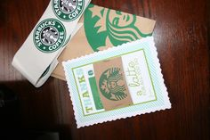 Homemade Starbucks Teacher Thank You's I made for LC's teacher. Put in Starbucks pastry bag with Sb sticker for cute all around package.  Find the diy blog here:http://www.skiptomylou.org/2011/04/14/printable-thanks-a-latte-gift-card-holder-teacher-appreciaiton/
