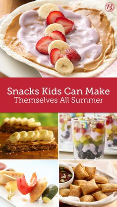 Keep the kids fed and entertained this summer with these fun snack ideas—no parent supervision required. Summer time is basically the same thing as a three-month long snacktime and these recipes are here to help you out!
