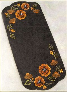 """Wool Applique Pattern by Crane Design """"Floral Melody"""" (11"""" x 24"""" Table Runner)"""