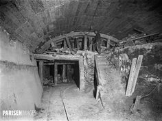 Construction of the Paris Metro (or Metropolitain). Junction of the underground…