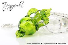 Freshness  lampwork glass pendant jar green by Branzuletka on Etsy