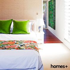 #bedroom #contemporary #style #home #cushion #bed #bedsheets #quilt #throw #green #artwork #print #timber #bright #light #airy #interior #decor #style #lamp #side #table #bedhead #homesplusmag Contemporary Style Homes, Bedhead, House And Home Magazine, Bed Sheets, Interior Inspiration, Quilt, Cushions, Inspire, Bright