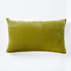 "Luxe Velvet Lumbar Pillow Cover - Citron | west elm - 12"" x 21"" - $39 (less 20% is $31.20) + $12 (less 20% is $9.60) - for chair pillow"