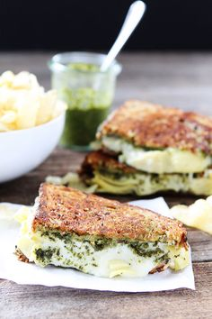 A pesto, artichoke, and Havarti grilled cheese sandwich recipe you have to try.