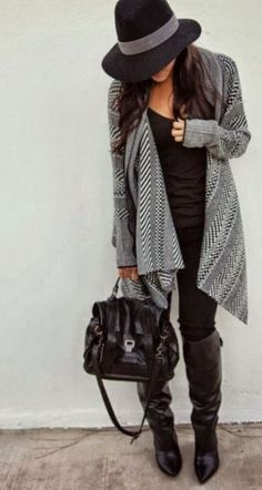 Boho casual fall style - love the sweater and hat!