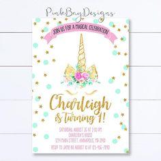 Unicornio invitación invitación de cumpleaños de unicornio