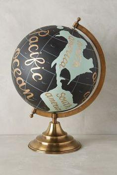 Handpainted Wanderlust Globe  #anthropologie