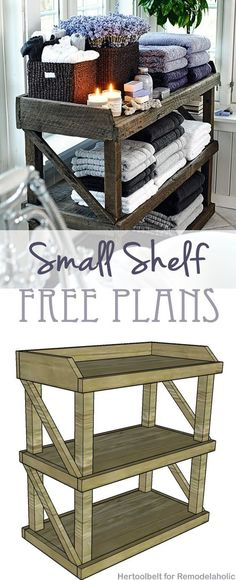 I am so building this!  The plans look very simple...  Now to find some reclaimed wood.  Free DIY plans to build an easy and stylish small shelf on http://Remodelaholic.com
