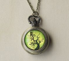 Owl Spooky Tree -Antique Bronze Pocket Watch Necklace