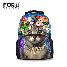 30fe24171c Forudesigns Preppy School Bags For Teenagers Girls Cute Cat Dog Print Kids  Children Schoolbags Women Book Bag Mochila Escolar