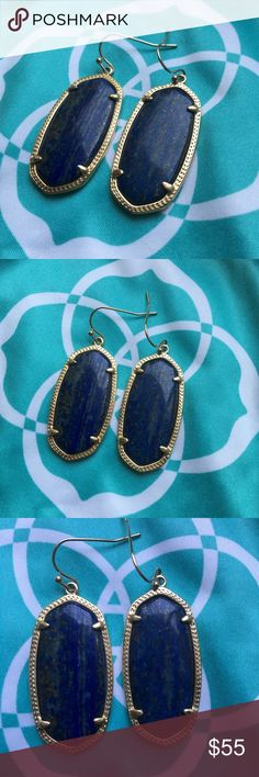 Kendra Scott Elle Drop Earrings Kendra Scott Elle Drop Earrings. Color is Blue Lapis with gold hardware. Does not come with dust bag. Due to stones having natural flaws and variation earrings stone varies. Kendra Scott Jewelry Earrings