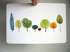 Row Trees Art Postcard from original watercolor by courtneyoquist
