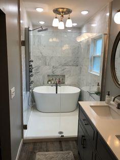 Walk in shower with freestanding bath tub. Freestanding Bath With Shower, Walk In Tub Shower, Bathtub Shower Combo, Bathroom Tub Shower, Walk In Bathroom Showers, Walk In Tubs, Bath Tub, Master Bathroom Tub, Small Bathroom Layout