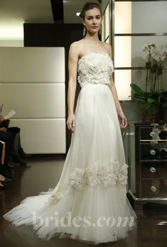 """Brides.com: Wedding Bloggers' Favorite Wedding Dresses from Fall 2013. """"The bottom of this Badgley Mischka Bride wedding gown is so beautiful! I can't even stand it!""""  —Sara Roeder  Browse more Badgley Mischka Bride wedding dresses."""