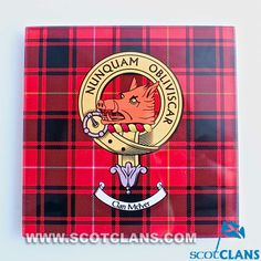 McIver Clan Crest Glass Coaster l