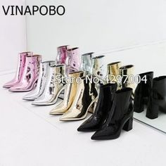 Vinapobo Rose Silver Gold Women Ankle Boots Pointed Toe Chunky High Heel Boots Mirror Metallic Women Pumps Female Sexy Stiletto  Price: 84.82 & FREE Shipping  #staysafe #practicesafetyguidlines #fashion|#sport|#tech|#lifestyle Chunky High Heels, High Heel Boots, Ankle Boots, Silver Roses, Women's Pumps, Female, Fun Gadgets, Office Fun, Metallic