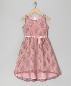 Take a look at this Dusty Rose Lace Dress - Girls on zulily today!