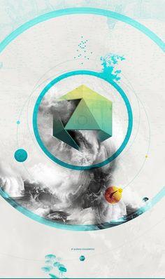El Océano Icosaédrico | by vuelodechincol Graphic Design Posters, Graphic Design Typography, Graphic Design Illustration, Graphic Design Inspiration, Graphic Art, Web Design, Layout Design, Design Art, Design Graphique