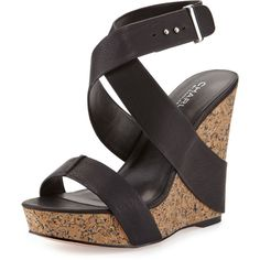 Charles by Charles David Arlington Leather Wedge Sandal ($55) ❤ liked on Polyvore featuring shoes, sandals, black, black wedge sandals, black platform sandals, cork wedge sandals, ankle strap sandals and strappy platform sandals