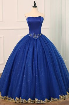 Quincenera dresses - Royal Blue Tulle Strapless Long Beaded Formal Prom Dress, Party Dress With Applique,prom – Quincenera dresses Sweet 16 Dresses, Trendy Dresses, Cute Dresses, Beautiful Dresses, Fashion Dresses, Formal Dresses, Formal Prom, Formal Wedding, Fashion 2018