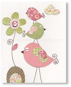 Illustration pour chambre d'enfant fille art bebe Fleurs Oiseaux : Décoration pour enfants par galerie-anais