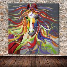 Sem moldura Mão-pintado Arte Da Parede Fotos de Sala de estar Decoração de Casa Moderna Abstrata Cavalo Dos Desenhos Animados de Animais Pinturas A Óleo Sobre sapatas de lona