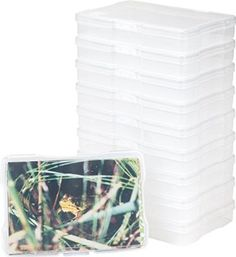 Storing photos has never been this easy. These 4 in. x 6 in. Photo and Embellishment Cases by IRIS USA, Inc. hold up to 100 photos each and are the perfect way to help organize and protect photos and Marker Storage, Craft Storage, Storage Bins, Storage Containers, Seed Storage, Storage Ideas, Pc Photo, Plastic Bins, Photo Storage