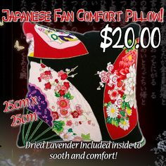 Japanese Fans Lavender Comfort Pillow by CoolahCreations on Etsy