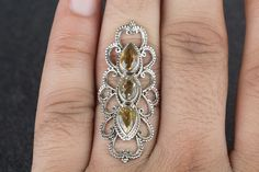 Silver Rings –  Handmade 925 Silver Faceted Citrine Ring – a unique product by ArtisanJewellery on DaWanda