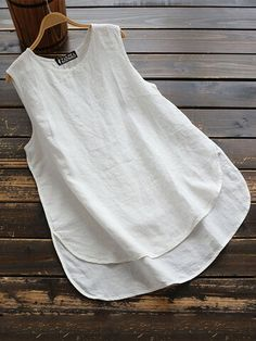 Crew Neck Sleeveless Solid Irregular Plus Size Vests Tops Shirts & Tops, Shirt Blouses, Women's Tops, Cotton Shirts, Crop Tops, Plus Size Vests, Plus Size Tank Tops, Casual Tops, Casual Shirts