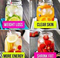 Weight loss= Limes  Clear skin= Blueberries+oranges  More energy= Lemons+raspberries Shrink fat= Strawberries