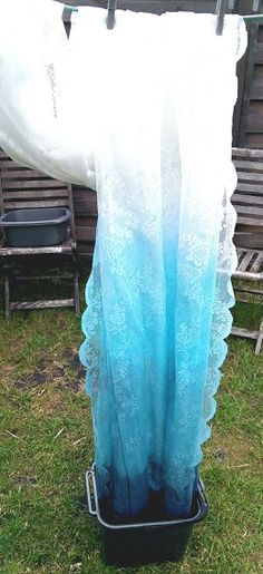 i've been thinking of doing this with the turquoise dye i have :) Diy tutorial ombre lace curtains