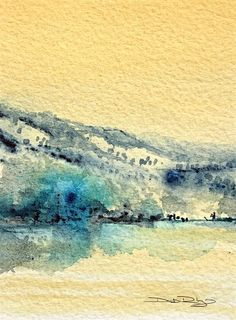 Watercolor Landscape, Debi Riley. First, lay a pale wash of naples yellow on the paper. Next apply Indigo on a skewer, while the yellow is still slightly damp, so that there is a bit of a blurring of the edges. Take a brush and feather out the Indigo along the hillsides lightly. Add a micron of Prussian blue for an accent area to finish. debiriley.com